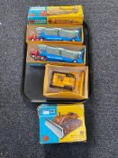 A tray of three boxed Corgi Major die cast vehicles to include two Carrimore car transporter 1101