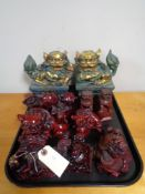 A tray of Chinese carved resin figures,