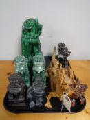 A tray of decorative Chinese modern carvings,