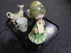 A tray of Leonardo Collection china lady figure, ornamental style decorative egg on carved stand,