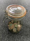 A jar of a quantity of antique British copper coins