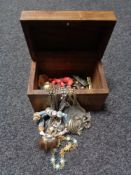 A brass inlaid hardwood jewellery box, costume jewellery,