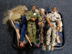 A tray of 1970's and other Matel action figures