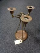 An elegant copper and brass Art Nouveau candelabra, hand signed and dated December 1893.