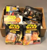 A collection of Star Wars The Official Figurine Collection die cast figures and accompanying