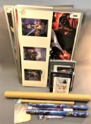 A quantity of Star Wars film posters, Star Wars Episode III cardboard cut out stand,