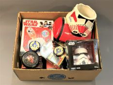 A collection of Star Wars collectable's including mugs, yo yo's,