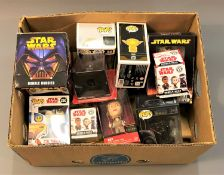 A collection of Star Wars Bobble Head figures, the vast majority are boxed.