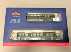Bachmann - 32-285 Class 101 2 Car DMU BR Green with Speed Whiskers, boxed.