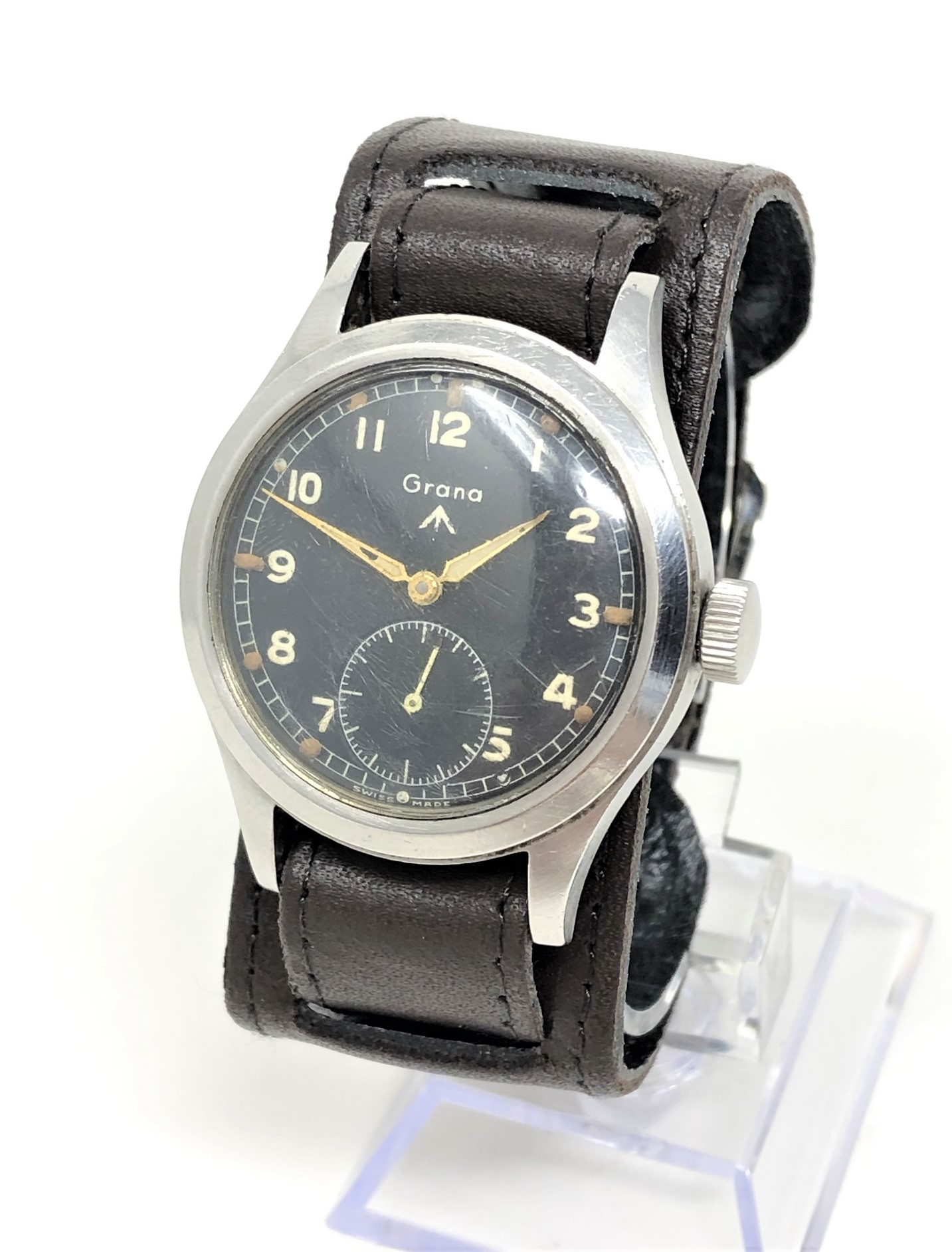 A very rare stainless steel British Military Grana wristwatch,