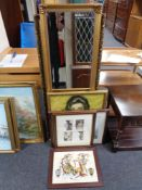 A gilt framed hall mirror and five further framed pictures