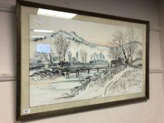 W. H. Park : figures on a bridge, watercolour, signed, framed.