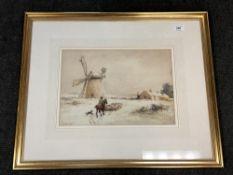 John Atkinson (1863-1924) A man on horseback herding sheep in a winter setting, watercolour, signed,
