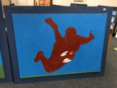 Gareth Thomas : oil on canvas depicting a rugby player 101 cm x 140 cm