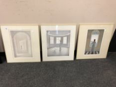 Three colour prints after Neil Moore, framed.