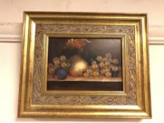 R Berger : Still life with fruit, oil on panel, signed, framed.