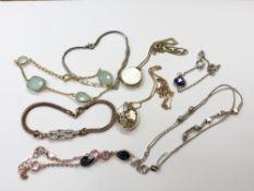 Six various silver bracelets,