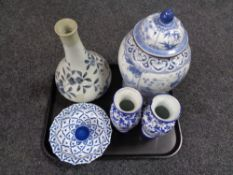 A tray of antique Chinese glazed blue and white vase,