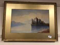 D. Moffat : A castle by a lake, watercolour, signed, framed.