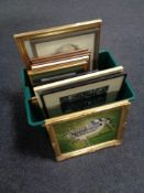 Two boxes of framed pictures and prints, portrait studies, photographs, etc, etc.