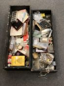 A large selection from a retired watch repairer in two large boxes including movements,