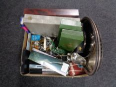 A box of plated wares, cased cutlery, canteen,