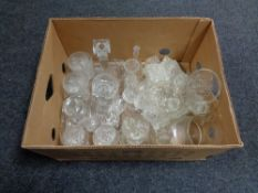 A box of glass ware, crystal, candle sticks,