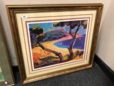 A gilt framed colour print by Benny Baptiste