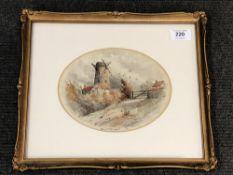 John Davison Liddell : Billy Mill 1870, watercolour, signed, 16 cm x 20 cm, framed.