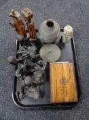 A tray of walnut bound Jerusalem bible, tribal figures,
