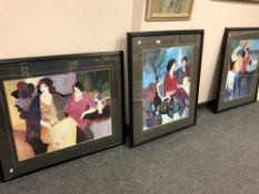 Three colour prints depicting figures in a cafe, framed.