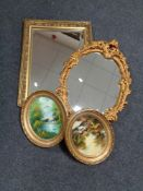 A gilt framed bevelled mirror together with a further gilt framed chalk mirror and two gilt framed