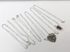 Six rope twist silver chains,
