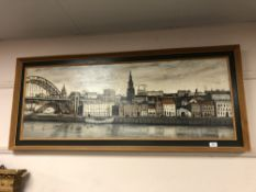 F.M. Atkinson : Newcastle Quayside, oil on board, signed and dated 1970, framed.