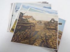 A collection of twenty two colour WW II prints - German Soldiers and military vehicles