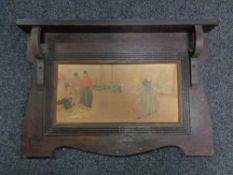 An early 20th century continental oak panel depicting figures on a dock side