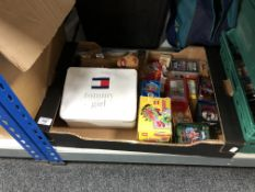 A box of collector's cards, Match Attax, lego etc