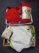 Two boxes of assorted bedding, quilts,