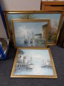 A gilt framed oil on board and two further oils on board of boats in harbours