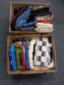 Two boxes of material and fabrics