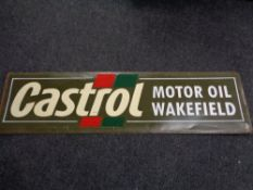 A painted tin sign - Castrol motor oil Wakefield