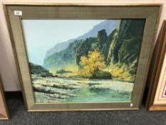 20th century school : a rocky landscape, oil on board, signed Moon, framed.