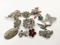 A collection of marcasite and paste-set costume jewellery,