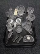 A tray of crystal and glass, Edinburgh Crystal clock, knife rests,