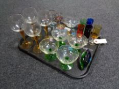 A tray of twentieth century glass, champagne and wine glasses,