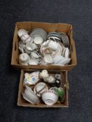 Two boxes of assorted china, Japanese Diane tea china, rose pattern tea china,