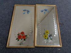 A pair of Edwardian gilt framed etched mirrors with hand painted decoration