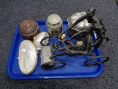 A tray of Selangor pewter urn, shell purses, brass salt and pepper pot,