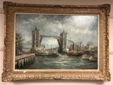 G. Bingham : Tower Bridge, London, oil on canvas, signed, framed.
