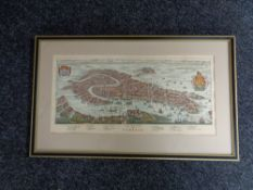A black and gilt hand coloured map of venice